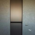 скрытые двери - заполнение зеркало Брнза сатин+кожаная вставка